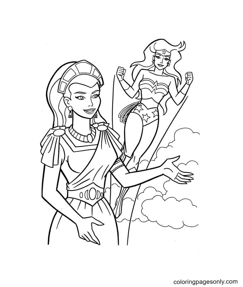 Wonder Woman With Hippolyta Coloring Page