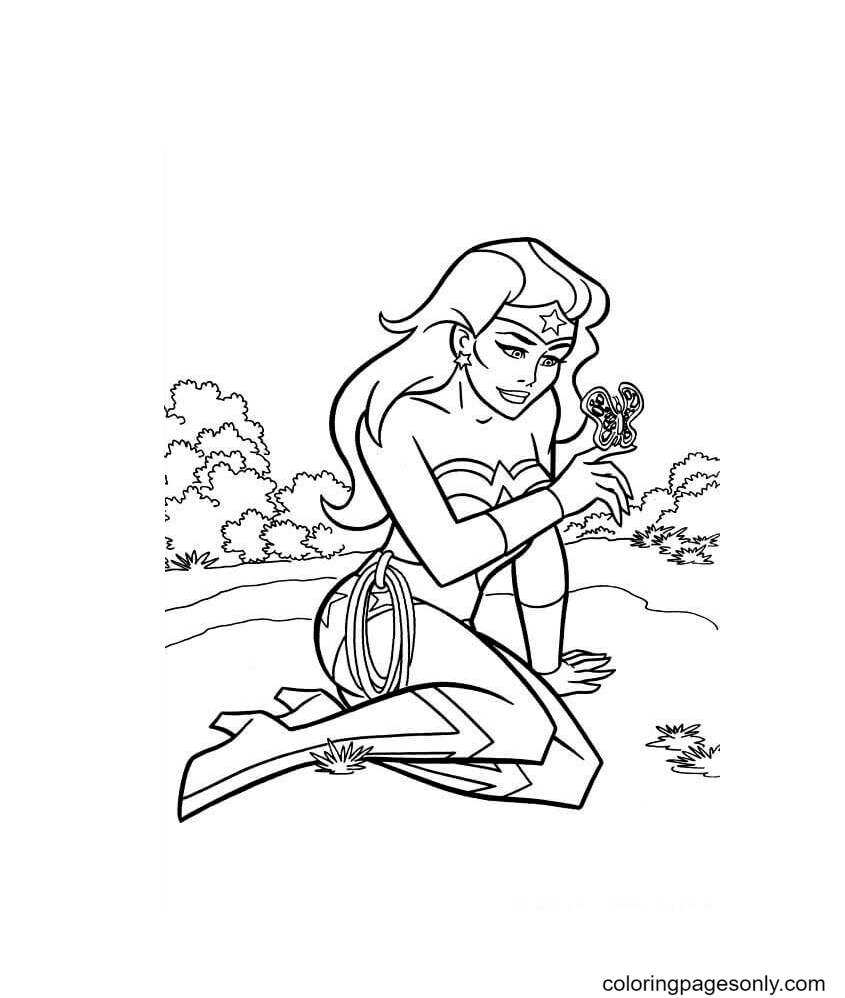 Wonder Woman and butterfly Coloring Page
