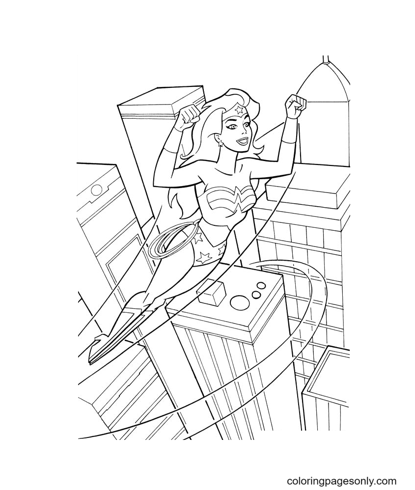 Wonder Woman flies over tall buildings Coloring Page