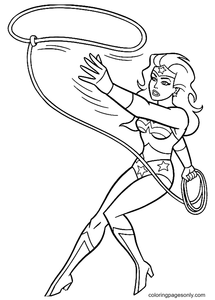 Wonder Woman is amazingly fast Coloring Page