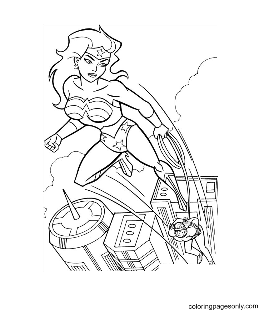 Wonder Woman using Lasso Coloring Page