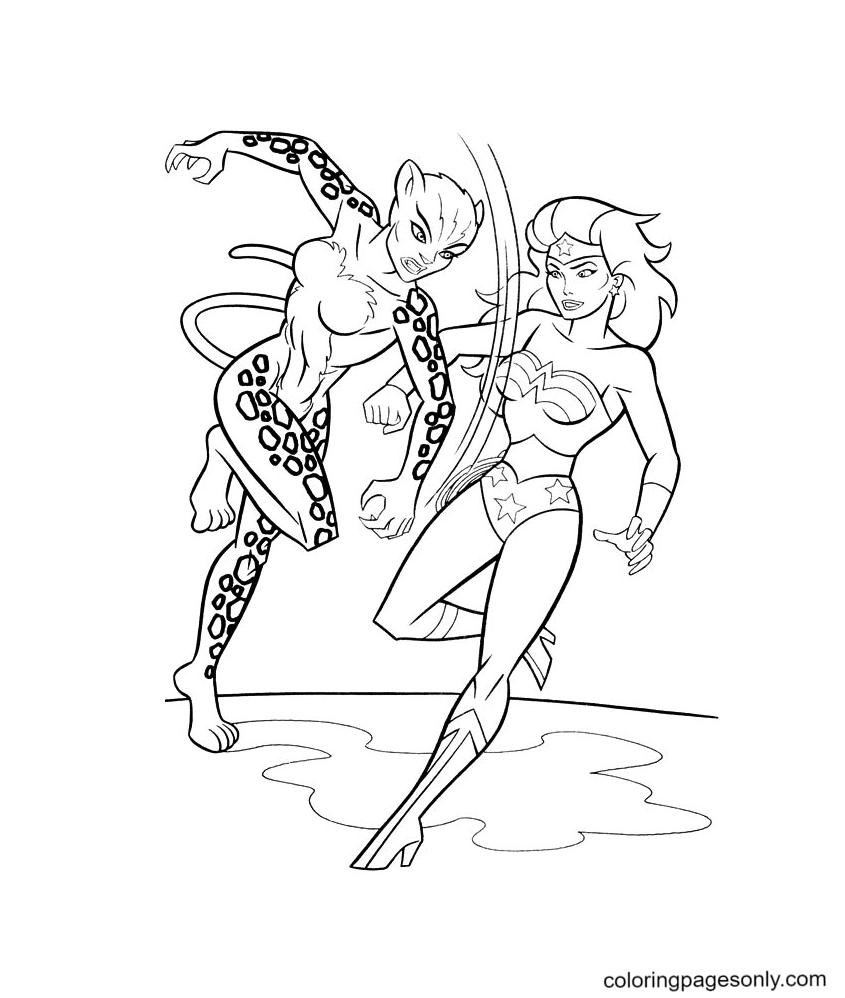 Wonder Woman with Cheetah Coloring Page