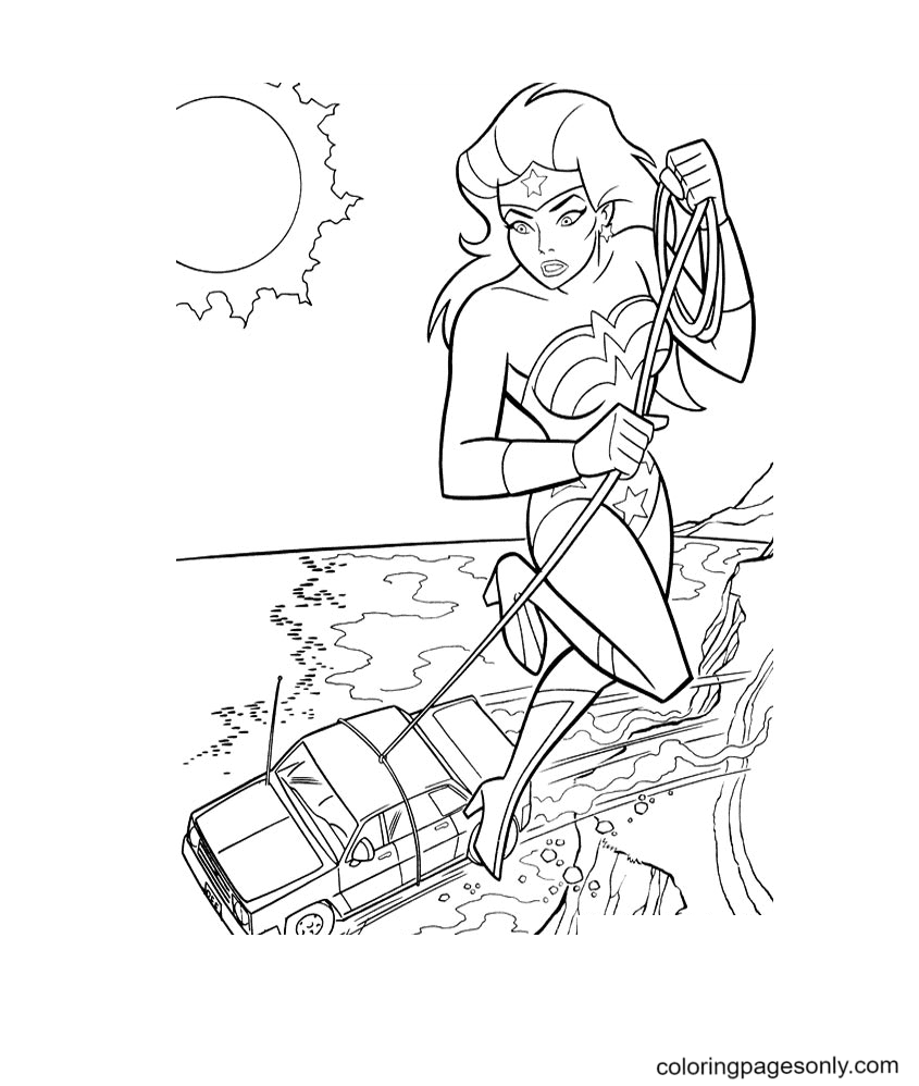 Wonder Woman with Speed fast Coloring Page