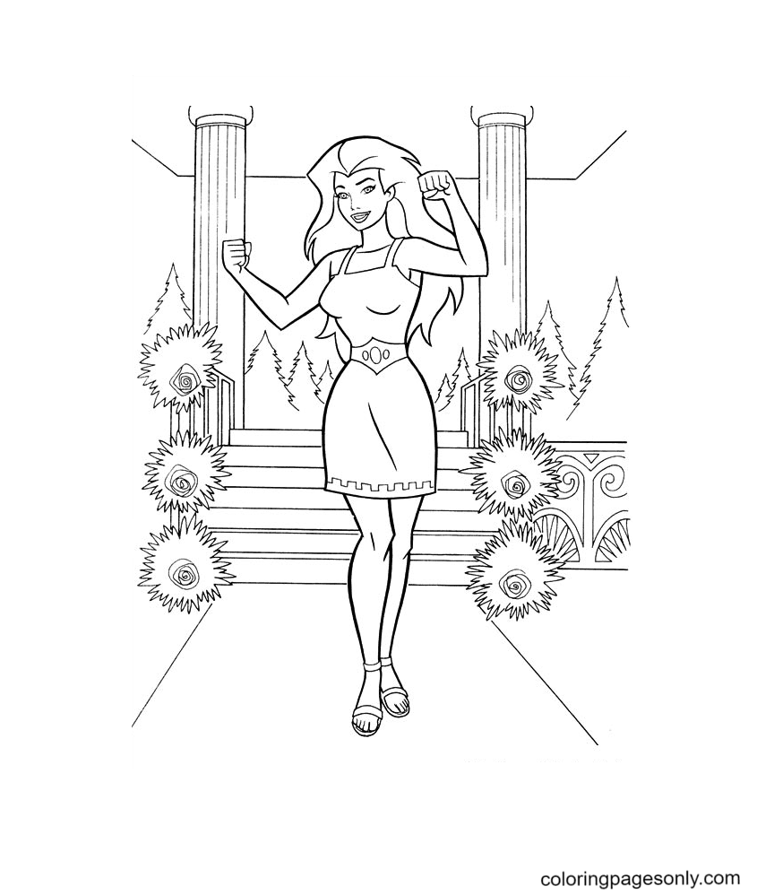 Wonder Woman with a beautiful dress Coloring Page