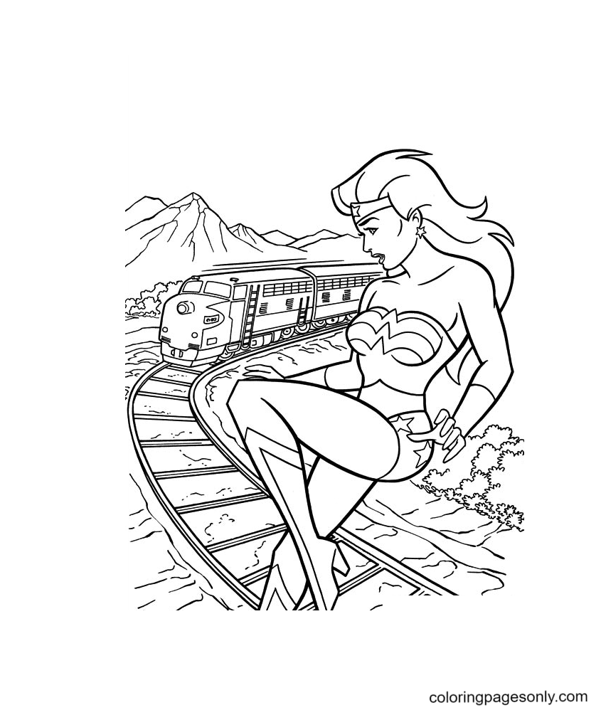 Wonder Woman with the train Coloring Page