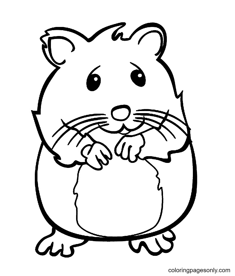 Worried Hamster Coloring Page