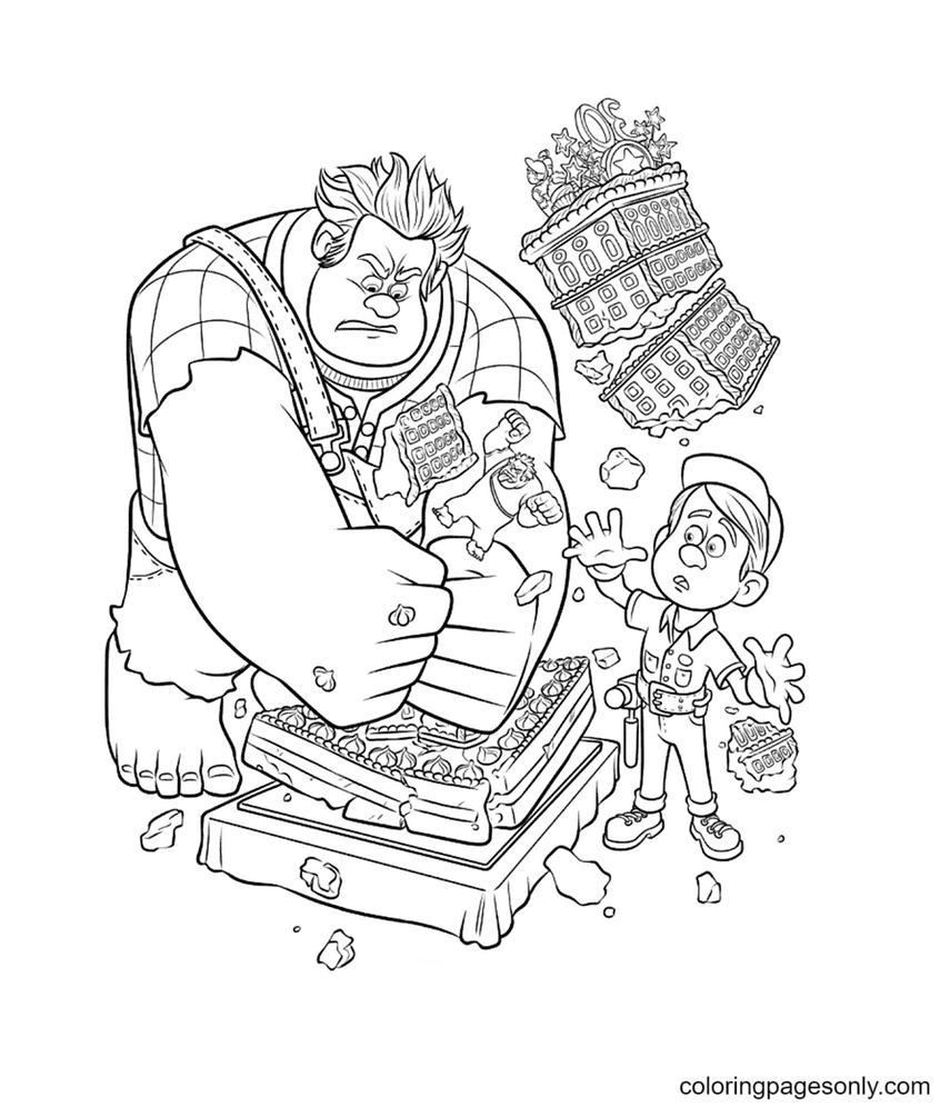 Wreck It Ralph And Fix It Felix Jr Coloring Page