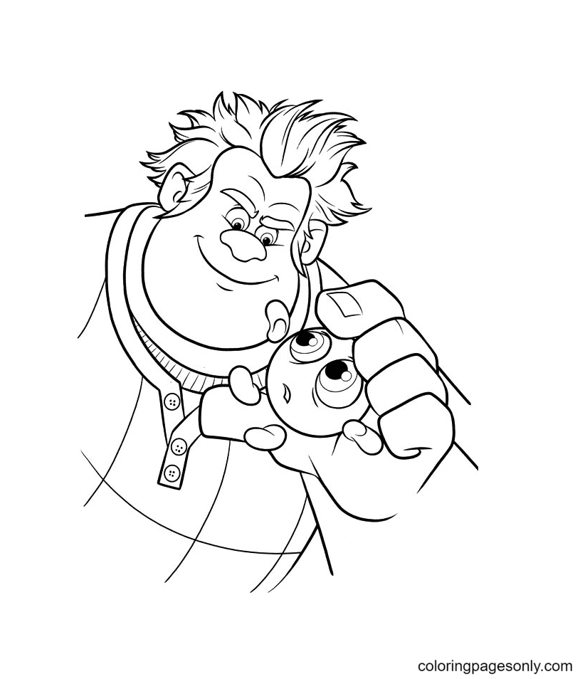 Wreck It Ralph Holds Sour Bill Coloring Page
