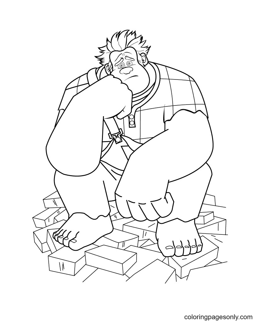 Wreck It Ralph Sits on Bricks Coloring Page