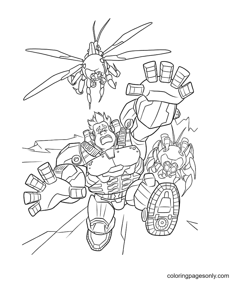 Wreck It Ralph being chased Coloring Page