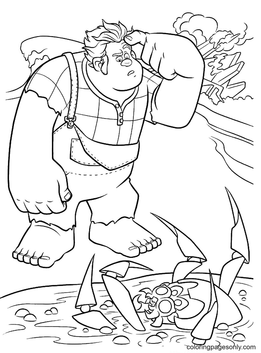 Wreck It Ralph is Confused Coloring Page