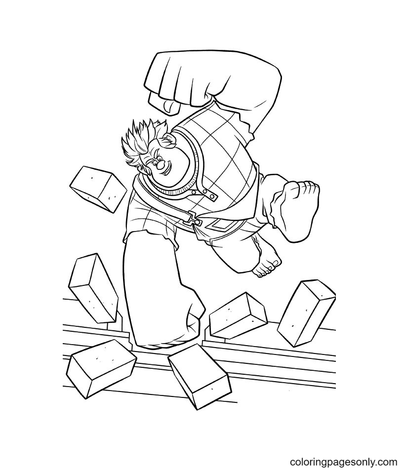 Wreck It Ralph smashes bricks Coloring Page