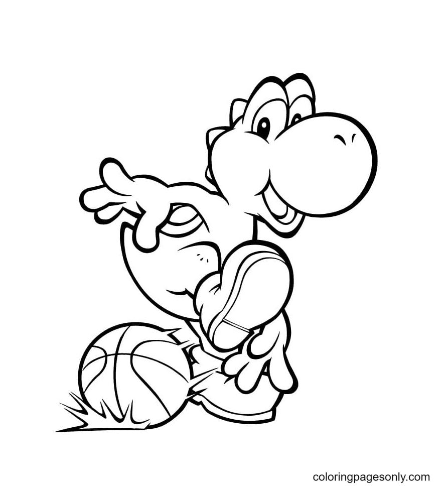 Yoshi Playing Basketball Coloring Page