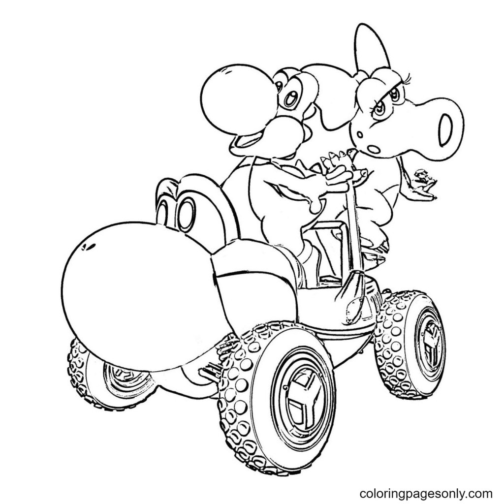 Yoshi and his girlfriend ride an ATV Coloring Page