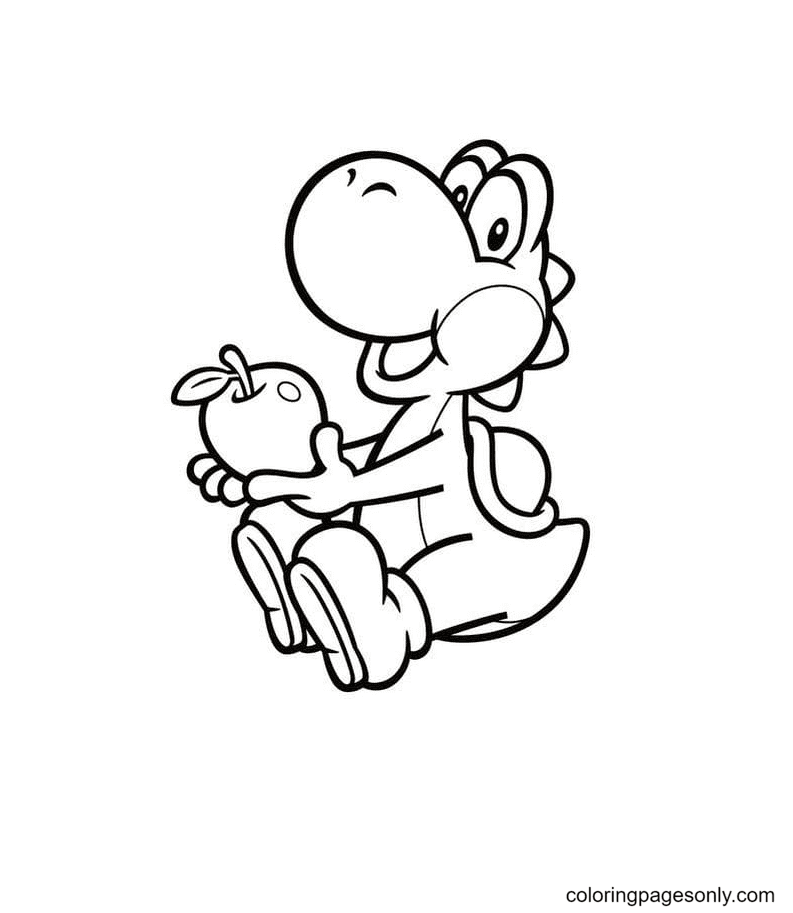 Yoshi eats an apple Coloring Page