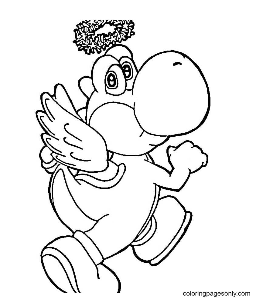 Yoshi is an angel Coloring Page