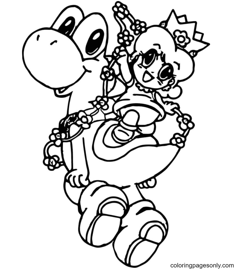 Yoshi with the Princess Coloring Page