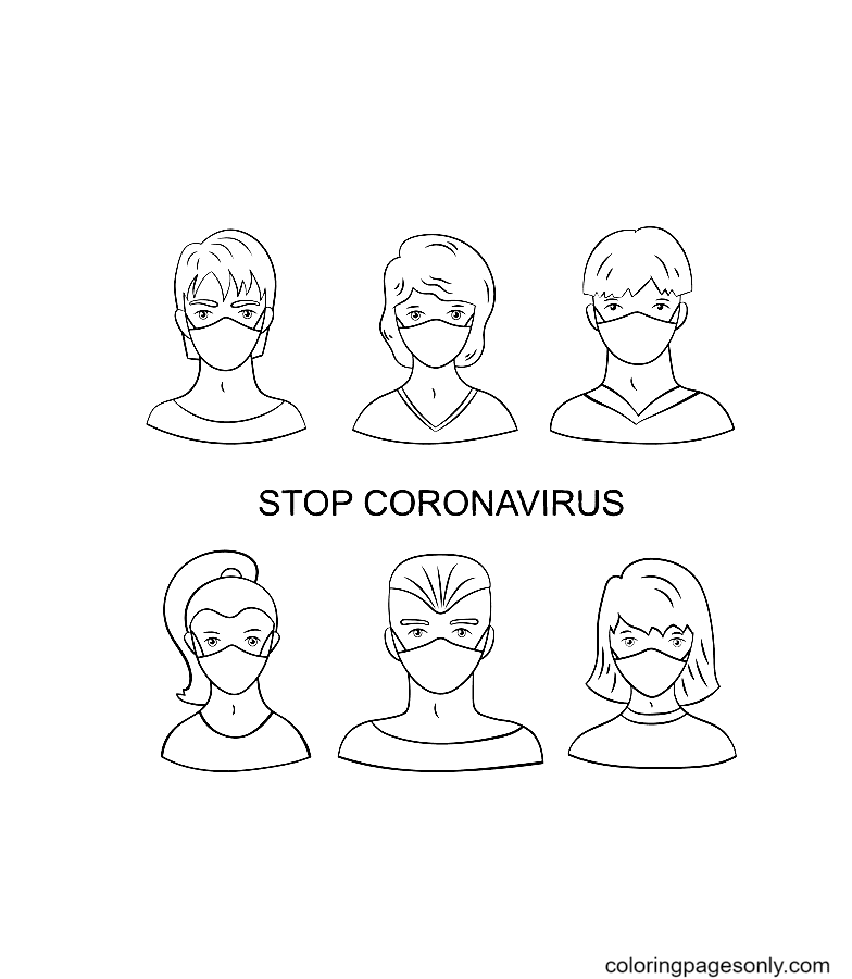 Young men and women in medical masks – Stop coronavirus Coloring Page