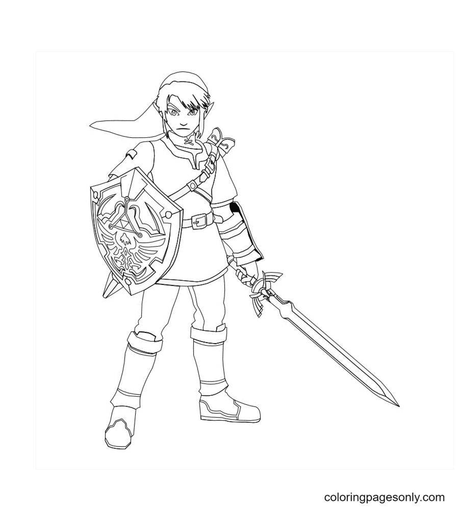 Zelda Link with Sword Coloring Page