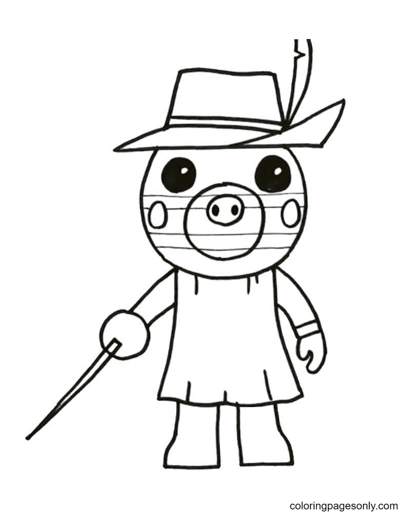 Zizzy Piggy Roblox Coloring Page