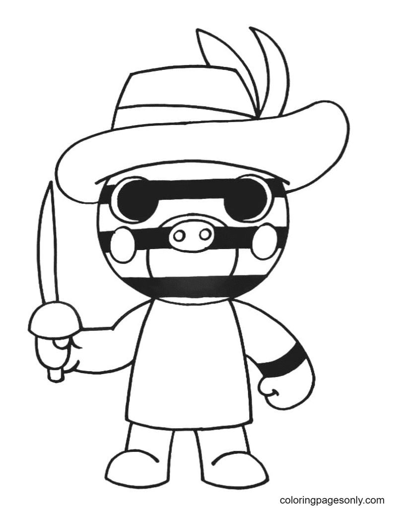 Zizzy Piggy Coloring Page