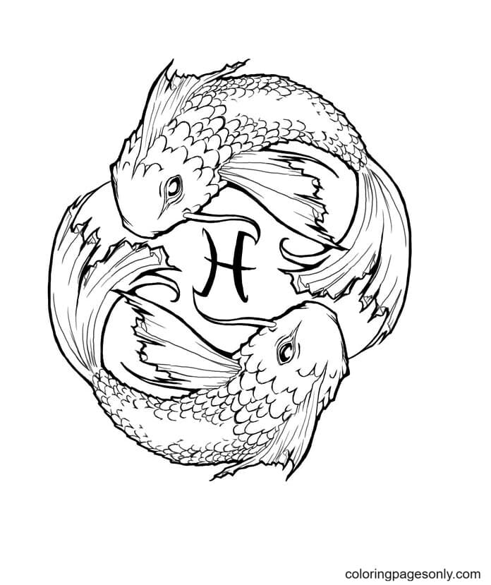 Zodiac Pisces Free Coloring Page
