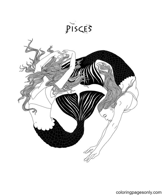 Zodiac Pisces Coloring Page