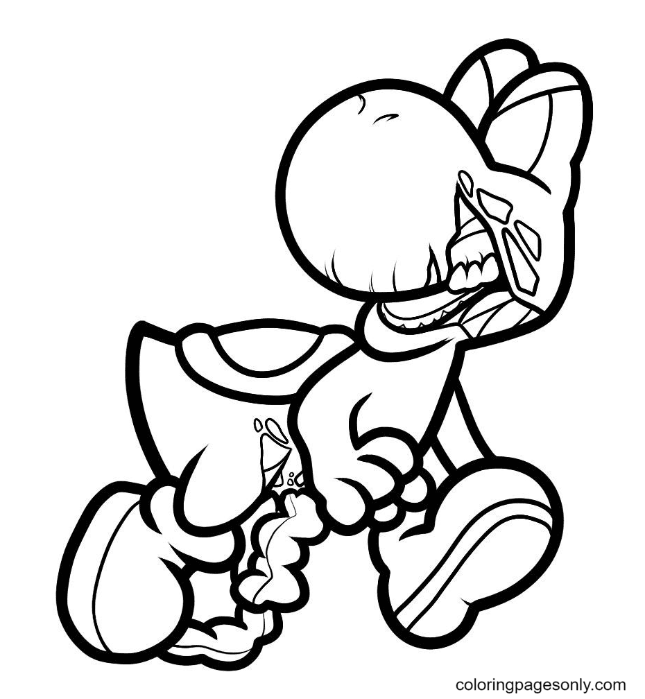 Zombie Yoshi Coloring Page
