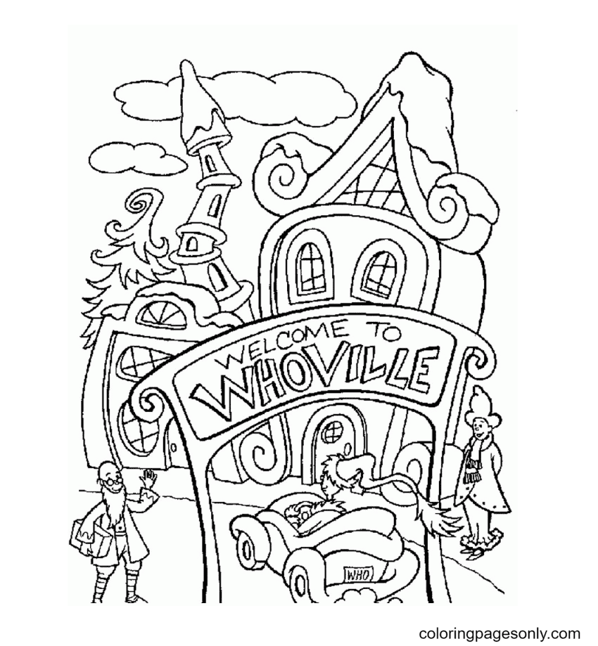 A Crazy Fictional Town Whoville Coloring Page