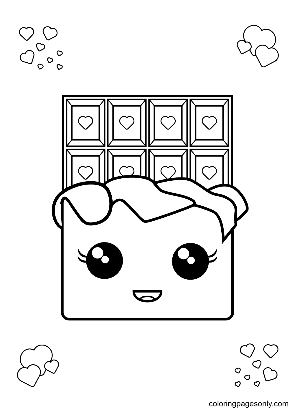 A Cute and Smiling Chocolate Bar Coloring Page