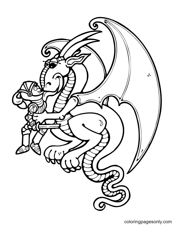 A Dragon and Knight Coloring Page
