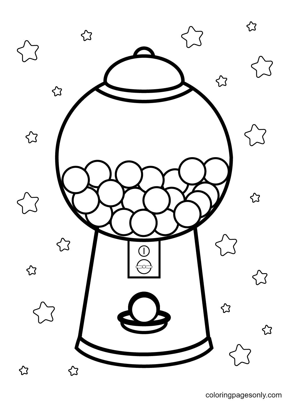 A Gumball Machine Candy Coloring Page