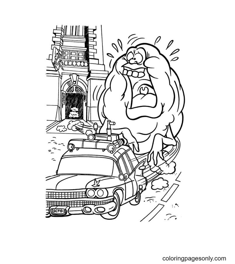 A Huge Ghost in Haunted House Coloring Page