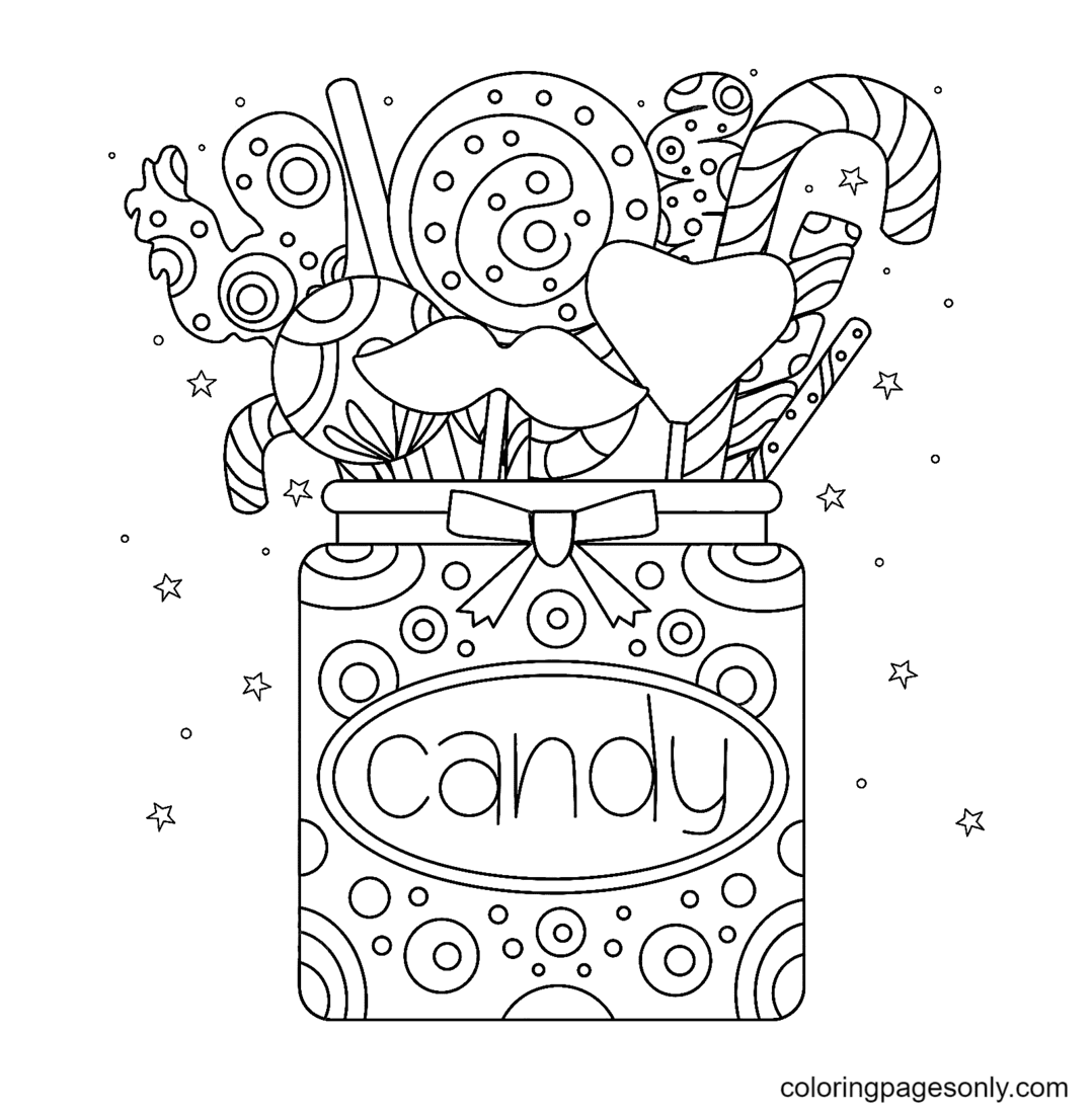 A Jar Of Sweets Coloring Page