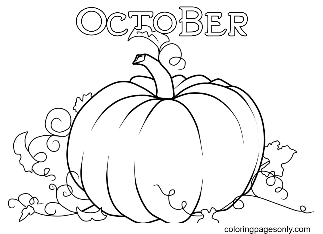 A Pumpkin in October Coloring Page