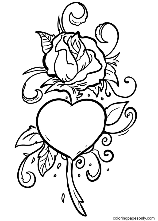 A Rose with a Big Heart in the Middle Coloring Page
