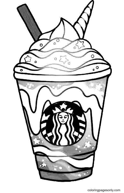 A Starbucks Coffee Cup Coloring Page