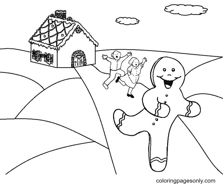 A Woman and A Man Chasing Gingerbread Man Coloring Page