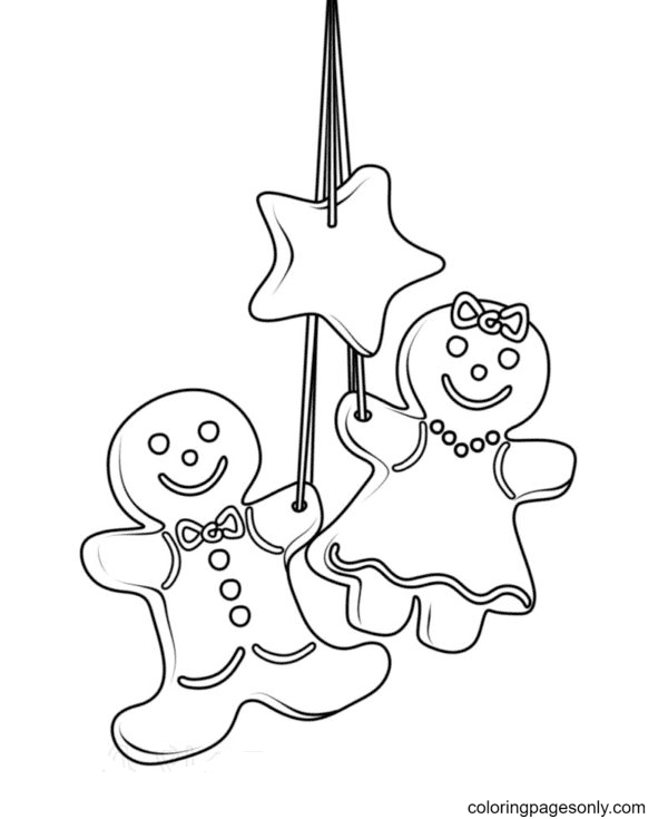 A couple of Gingerbread Man Coloring Page