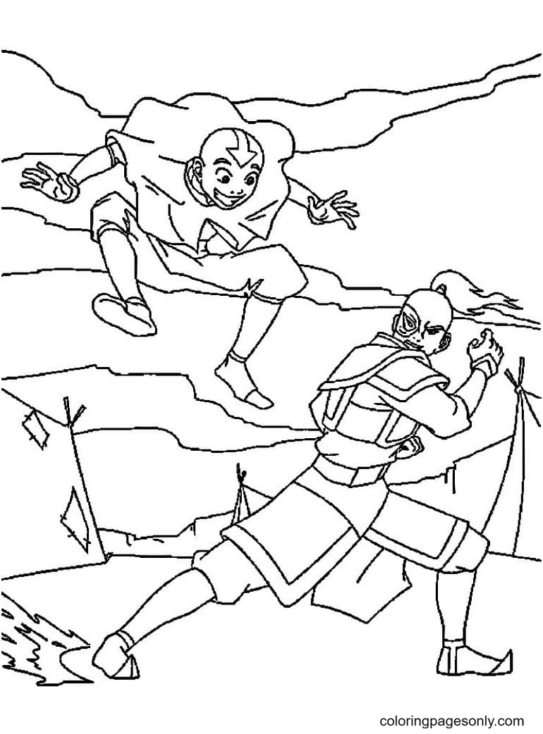Aang with Zuko Coloring Page