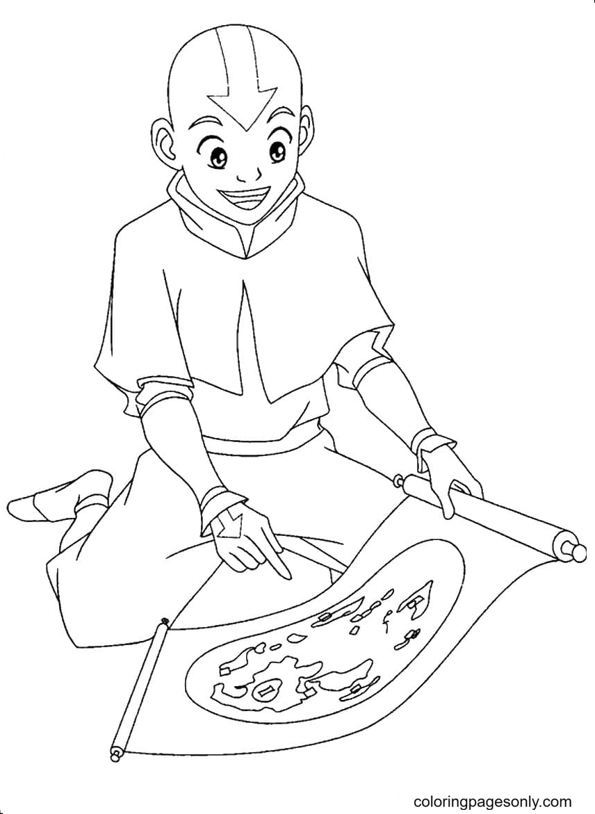 Aang with a map Coloring Page