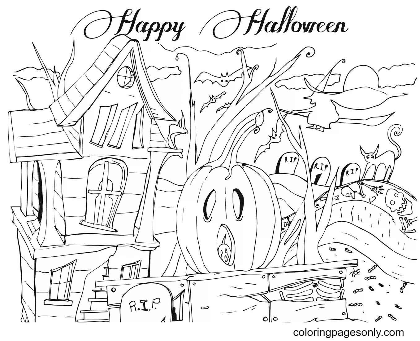 Abode of Ghosts and spirits Coloring Page