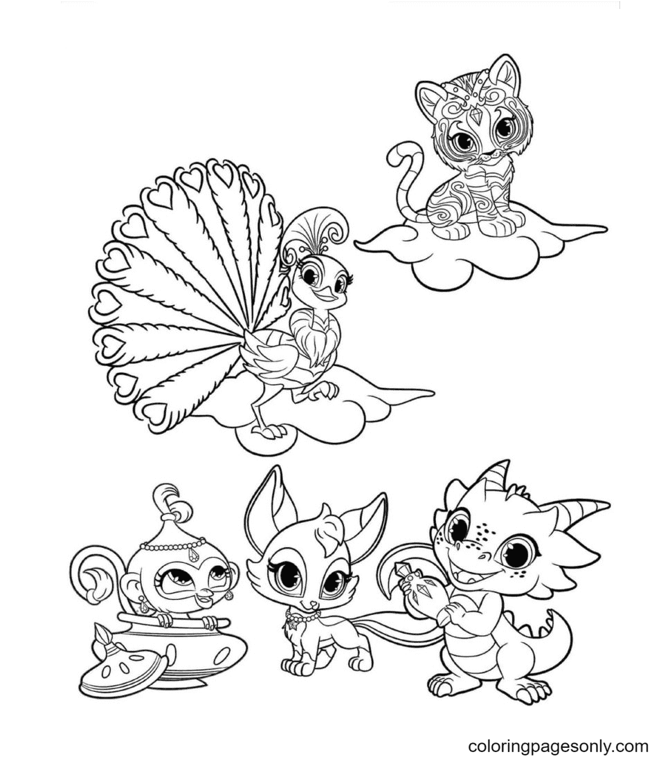 Adorable pets Coloring Page