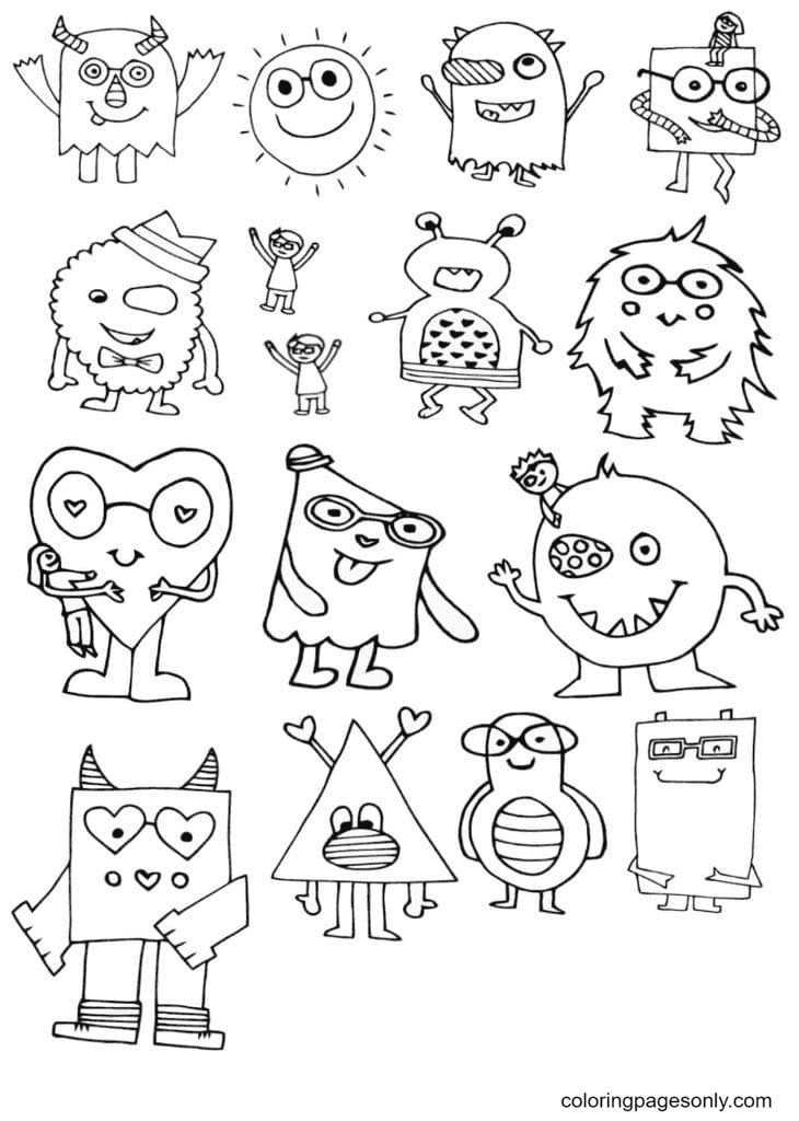 Aestheics Cute Monsters Coloring Page
