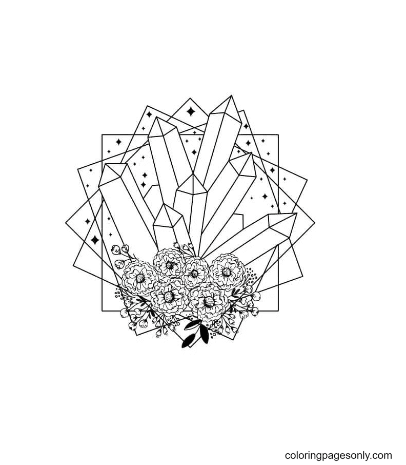 Aesthetic Crystals and Flowers Coloring Page