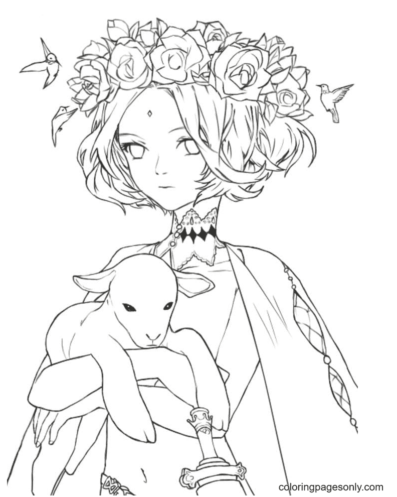 Aesthetic Drawings Anime Girl Coloring Page