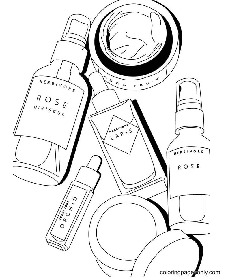 Aesthetic Drawings Cosmetics Coloring Page