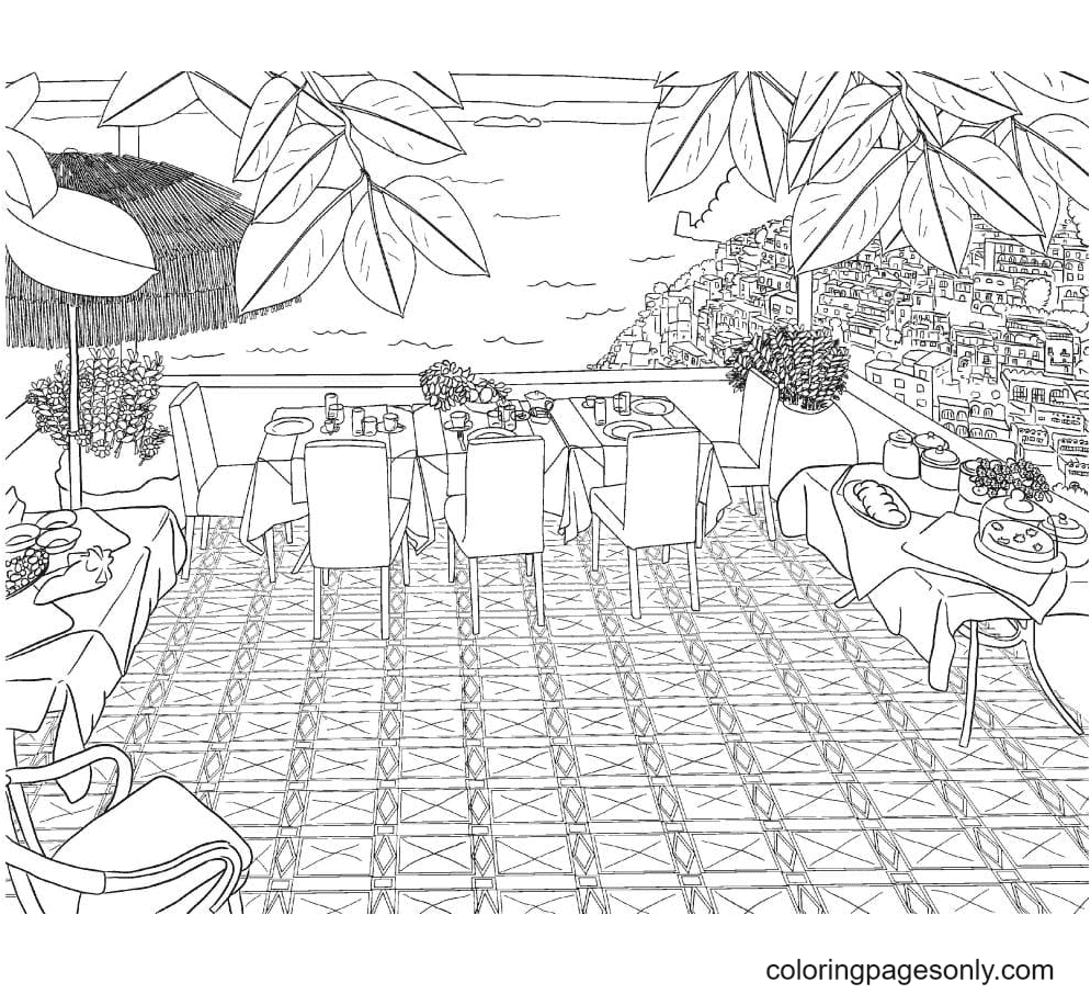 Aesthetic Drawings Landscape Coloring Page