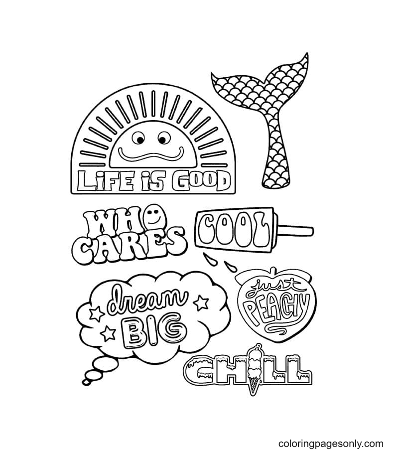 Aesthetic Drawings for Girls Coloring Page