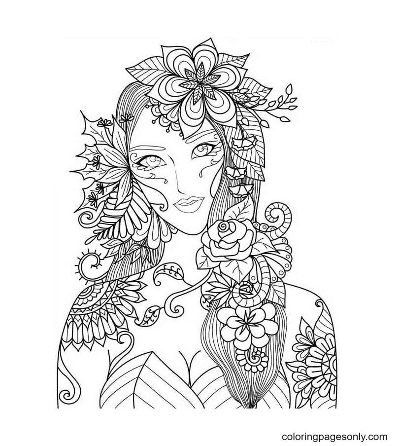 Aesthetic Girl Coloring Page